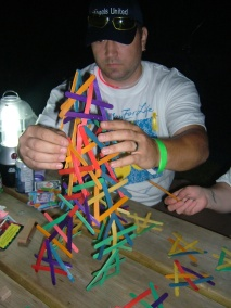 Brian building our tower..No Glue allowed!