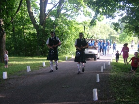 Bagpipes start the event